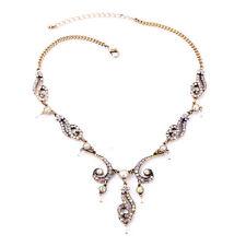 Modern Anthropologie Opal Sprinkle White Rhinestone Gold Necklace