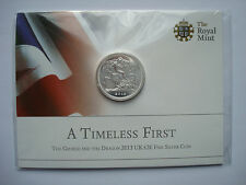 Great Britain UK 20 £ Pounds 2013 Silver BU The George and the Dragon