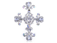 Silver Tone Cross Antique Gorgeous Rhinestones Costume Pin Brooch