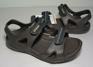 Crocs Size 10 SWIFTWATER RIVER Brown Black Sport Sandals New Men's Shoes