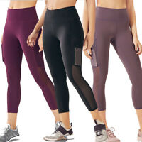 Women Mesh Pockets High Waist Yoga Leggings Fitness Sports Workout Running Pants