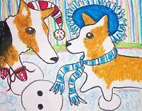 PEMBROKE WELSH CORGI Winter Pop Folk Art Print 8x10 Dog Collectible Signed KSams