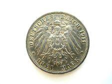 Deutsches Reich 3 Mark 1911 F Silber Wilhelm II. Charlotte König von Württemberg