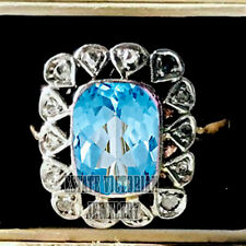 0.65cts Rose Cut Diamond Blue Topaz Silver Antique Finished Wedding Ring Jewelry
