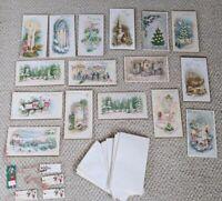 Lot 16 Unused Vintage Mid Century Christmas Cards & Tags Art Scrapbook Ephemera