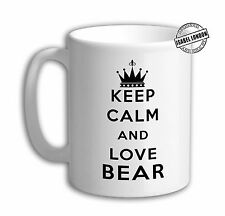 Personalised Keep Calm and Love Bear Mug. Customise with your own text. IL6090