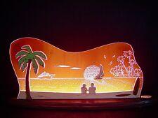 3d LED Arco de luces vidrio acrílico CON MADERA MARES DEL SUR PALMA 47x20 cm
