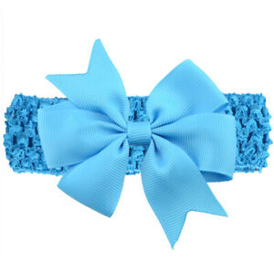 Baby Girl Elastic Knitted Headbands Infant Toddler Knotted Hairbands Bows,Blue