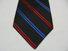 BLACK WITH BLUE & RED STRIPES - POLYESTER NECK TIE!