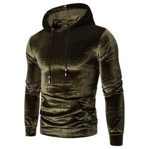 Men's Western style Hooded Hoodies Pullover Long sleeve Velvet Basic Tops New B