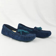Women's Ugg Driving Shoes Slippers Moccasins Blue Suede Shearling UD 9 UK 40