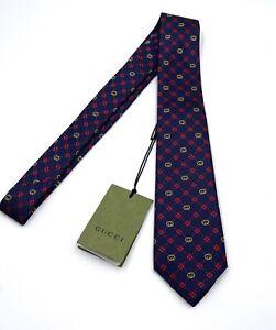 Gucci Interlocking G and clover 100% Silk Tie In Dark Blue And Red Nwt