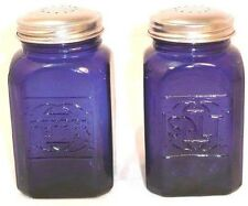 Large Cobalt Blue Salt & Pepper Shakers~Reproduction Depression Glass~Metal Lids
