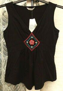 ( Ref 6130 ) New Look - Size 12 - Ladies Black Sleeveless Summer Floral Top BNWT