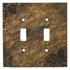 Pinecone Double Switch plate (Slate Look) by Big Sky Carvers