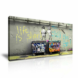 Banksy Life is Short Chill the Duck canvas wall art Wood Framed Ready to Hang