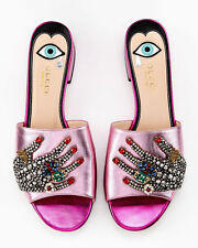 9f1f0cde1 NEW Authentic GUCCI Wangy Beaded Metallic Pink Mule Slides Sandals 39.5 9