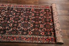 Vintage All-Over Navy Blue 13 ft Runner Malayer Oriental Rug Hand-made Wool 3x13