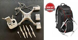 DJI PHANTOM 4 DRONE WHITE *Camera Works Flies Great - 2 Batteries + Backpack