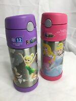 Bundle Of 2 Thermos 12 Oz Funtainer Bottles Tumbelina & Disney Princesses