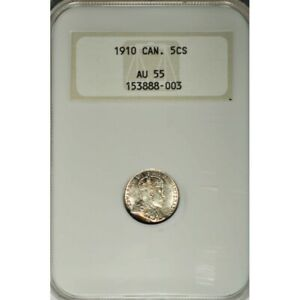 1910 CANADA SILVER 5 CENTS ROUND LEAVES/BOW TIE -NGC AU 55 SCARCE! -d184dutsc2
