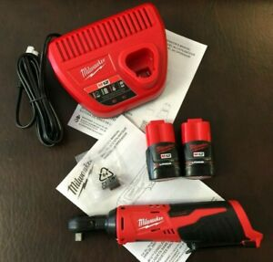 """NEW Milwaukee 2457-20 M12 Cordless 3/8"""" Ratchet Tool (2) 12v Batteries/Charger"""