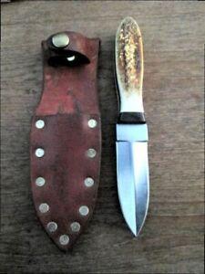 FINEST Vintage Custom File-made Steve Bass Boot Dagger/Fighting Knife w/Stag