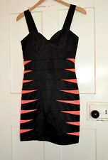 H&M Black Satin Structured Dress, Size; 8, Party, Club, Going Out Dress