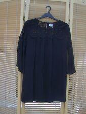Blue Vanilla M black bell sleeved ladies lace detail swing dress