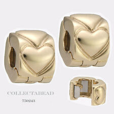 Authentic Pandora 14kt Gold Heart Clips Bead  (2) 750243