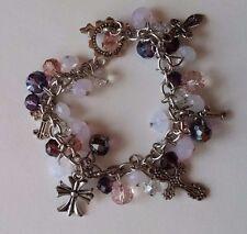 "Beautiful Purple, White, Sliver Beaded Cross Charm 8"" Bracelet Fashion Jewelry"