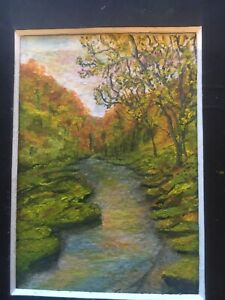 Original ACEO Miniature Oil Painting In Mount 'River' By Suzi A