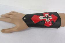 New Men Black Leather Bracelet Fashion Wide Red Metal Cross Arm Biker Rocker
