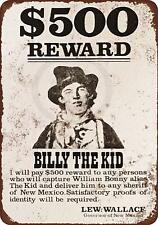 """1878 Billy the Kid Wanted Poster Rustic Retro Metal Sign 8"""" x 12"""""""
