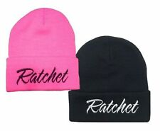 "2x New Pink/Black ""Ratchet""  Embroidery Long Cuffed  Beanie"