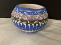 "E & V Tsosie Sr Navajo Pottery Small Bowl Vase Beautiful Hand Etched 3.5"" x 4.5"""