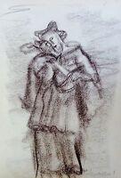 ALBERT WALLAT (1917-1997) Aquarell / Kohlezeichnung: DER ERZENGEL / ENGEL