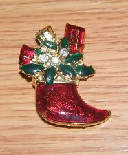 """Stocking Gold Tone Brooch / Pin Read Unbranded 1 3/4"""" Inch Christmas Holiday Red"""