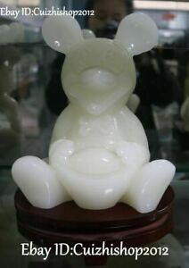 """10"""" Unique Natural White Jade Mickey Mouse Rat Wealth Yuanbao Money Statue"""