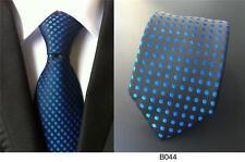 negro y azul lunares hecho a mano 100% Seda Corbata De Boda