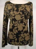 Beautiful Women's Size 1 Chico's Design Black Brown Floral LS Knit Blouse GUC