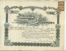 1902 UNITED GOLD MINES COMPANY COLORADO CERTIFICATE