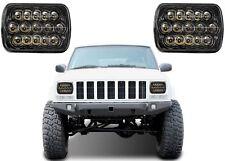(2) 7x6 CREE 15 LED Black Headlights For Jeep Cherokee XJ YJ