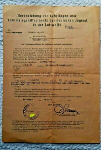 1944 Form for Youth, for Military Service and German Youth in the Luftwaffe
