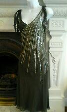LAURA ASHLEY soie 20 S vintage à clapet Robe Style Gatsby mariage Garden Party 10