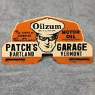 OILZUM Patch's Garage Metal License Plate Topper OIL GAS Sign VERMONT