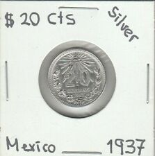 """Mexico: $ 20 Cts Super Nice Silver Coin Year """"1937"""""""