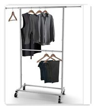 Heavy Duty Commercial Garment Rack Rolling Collapsible Clothing Shelf - 150 lbs