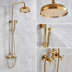 Luxury Gold Wall Mounted Rainfall Shower Faucet Set Handheld Sprayer Mixer Tap