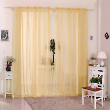 2X Valances Tulle Voile Door Window Curtain Drape Panel Sheer Scarf Divider